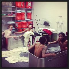 Ice bath after win over Purdue